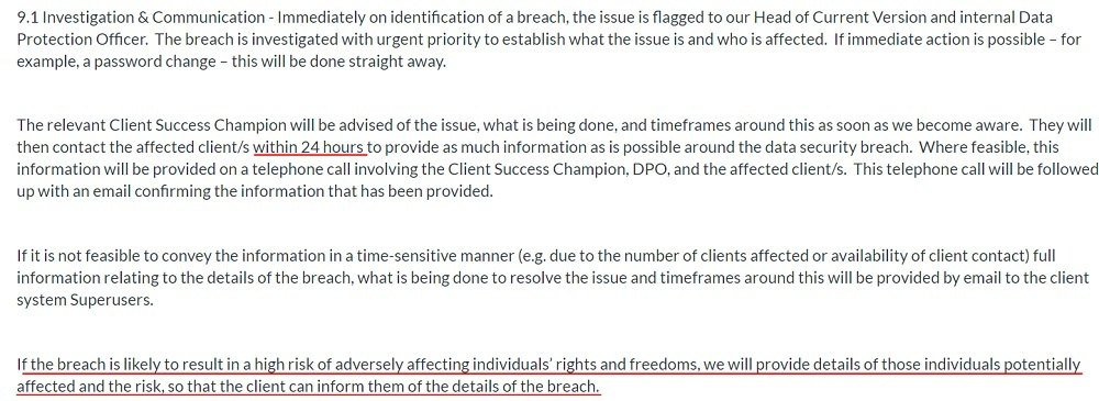 Firefish DPA: Personal Data Breach clause - Investigation and Communication section
