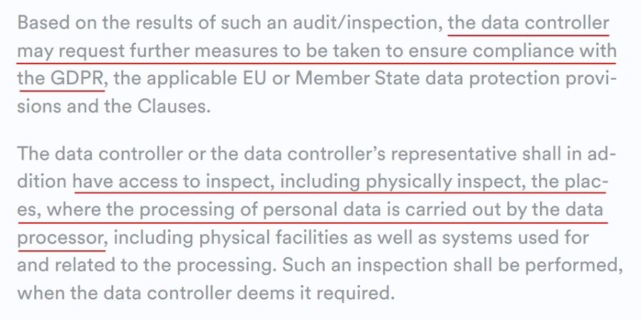 Gateway API DPA: After audit and inspection results, further measures may be taken for GDPR compliance section