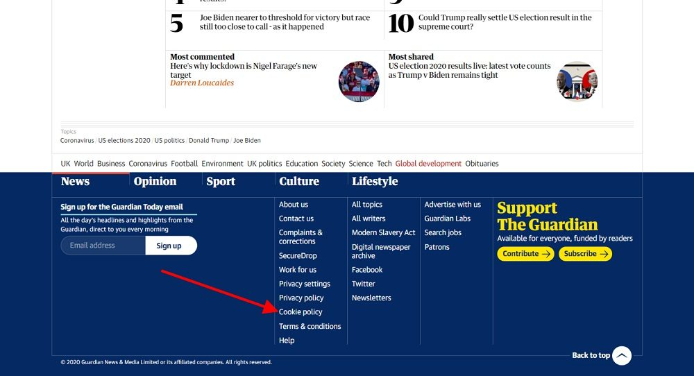 The Guardian website footer with Cookie Policy link highlighted