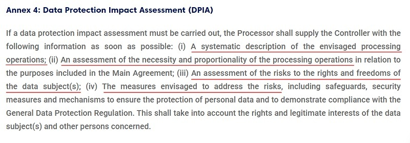 Headminer DPA: Annex 4: Data Protection Impact Assessment clause