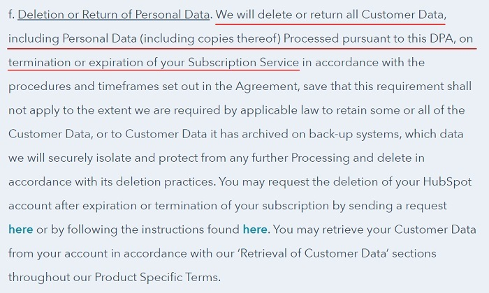 HubSpot DPA: Deletion or Return of Personal Data clause