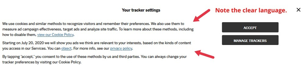New York Times Cookie Notice - Tracker Settings