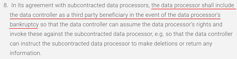 Players First DPA: Data controller as third party beneficiary clause