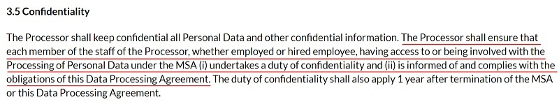 SuperOffice DPA: Confidentiality clause