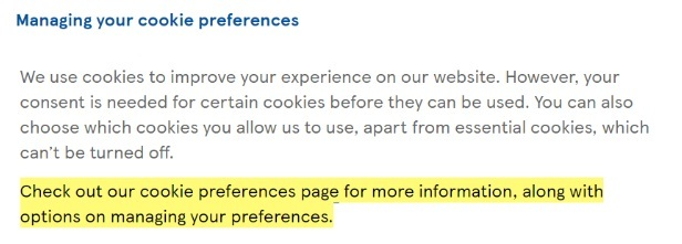Tesco Privacy and Cookies Policy: Managing your cookie preferences clause