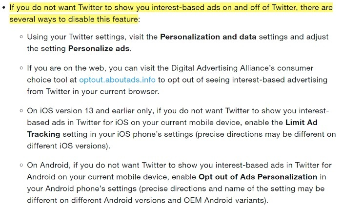 Twitter Help - General Guidelines and Policies - Privacy Options: Interest-based ads section