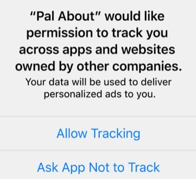 Screenshot of Apple User Privacy and Data's permission to track notification