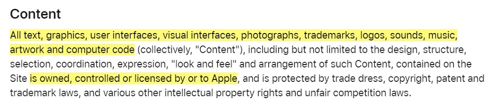 Apple Website Terms of Use: Excerpt of Content clause