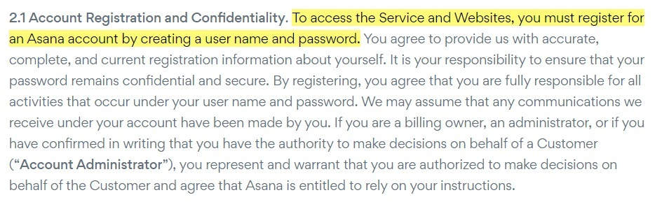 Asana Terms of Service: Account Registration and Confidentiality clause