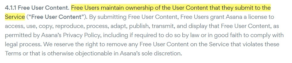 Asana Terms of Service: Free User Content clause