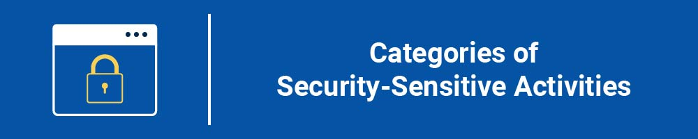 Categories of Security-Sensitive Activities