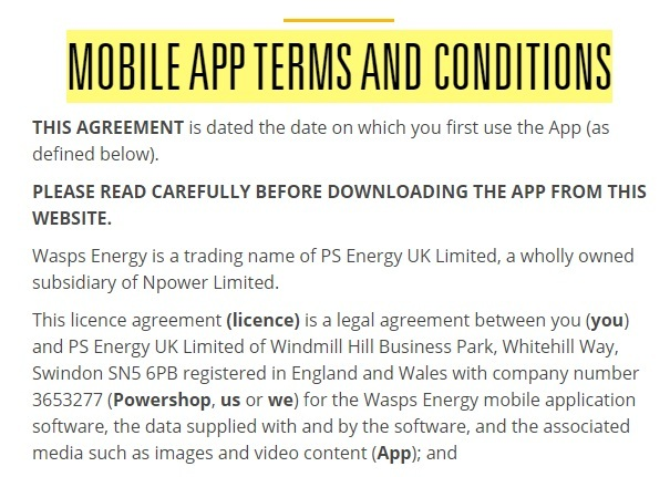 Wasps Energy Mobile App Terms and Conditions: Introduction clause