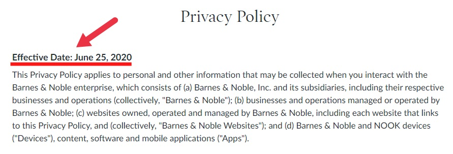 Barnes and Noble Privacy Policy with Effective Date highlighted