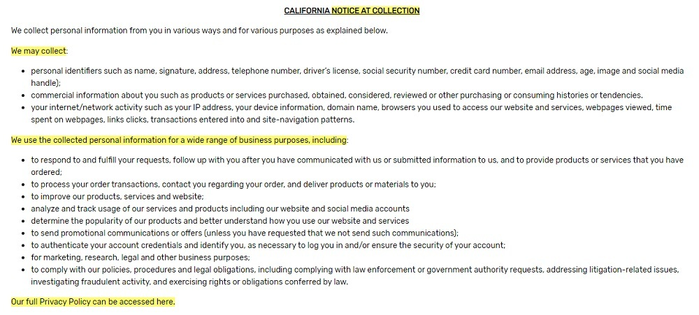Bota Box Privacy Policy: California Notice at Collection