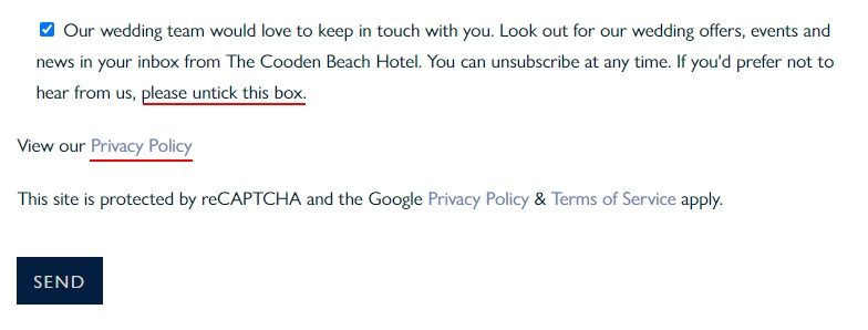 The Cooden Beach Hotel marketing communications sign-up form with pre-ticked checkbox