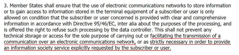 EUR-Lex ePrivacy Directive: Article 5 Section 3