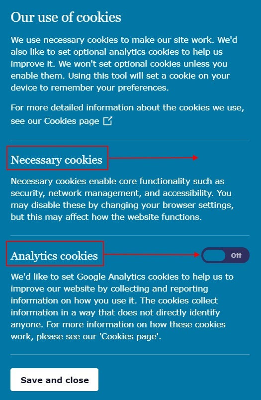 ICO cookie consent notice with necessary and analytics cookies