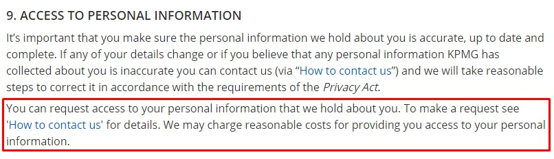 KPMG Privacy Policy: Access to Personal Information clause