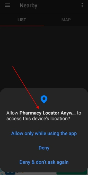 Pharmacy and Chemist Finder mobile app: Allow user location request notification