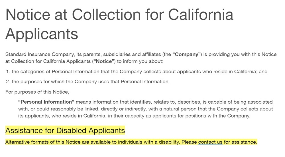 Standard Notice at Collection: Assistance for Disabled Applicants section