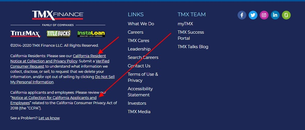 TMX Finance website footer with Notice at Collection links highlighted