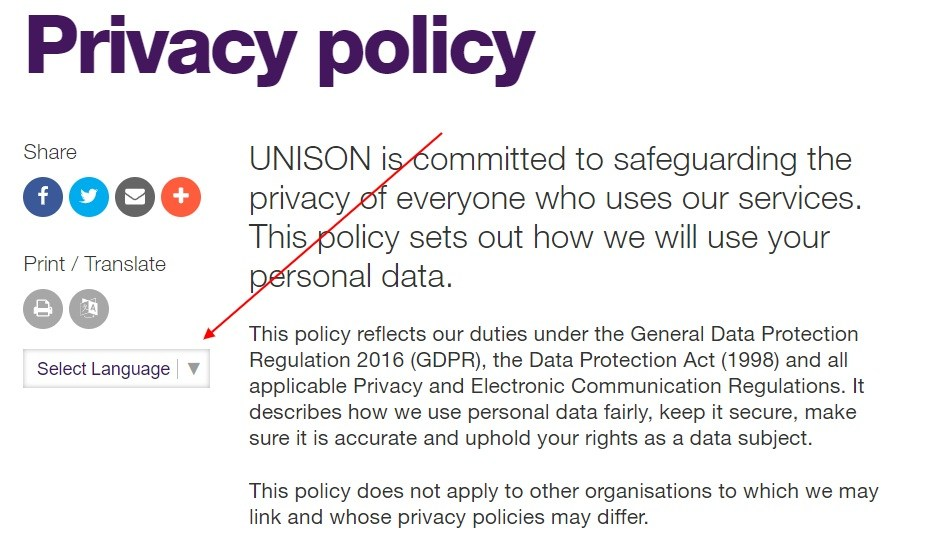 Unison Privacy Policy: Introduction with Select Language section highlighted