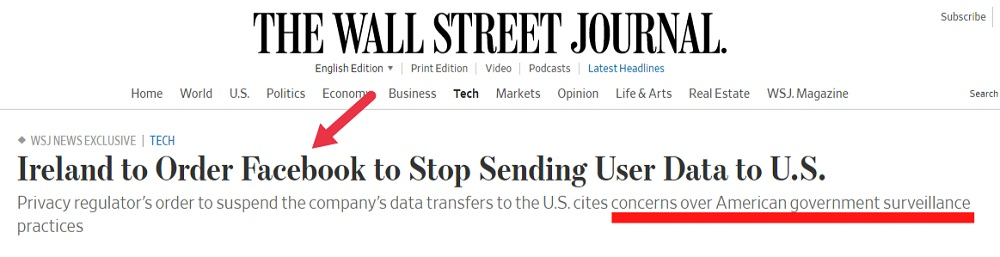 The Wall Street Journal article headline: Ireland to Order Facebook to Stop Sending Use Data to the US