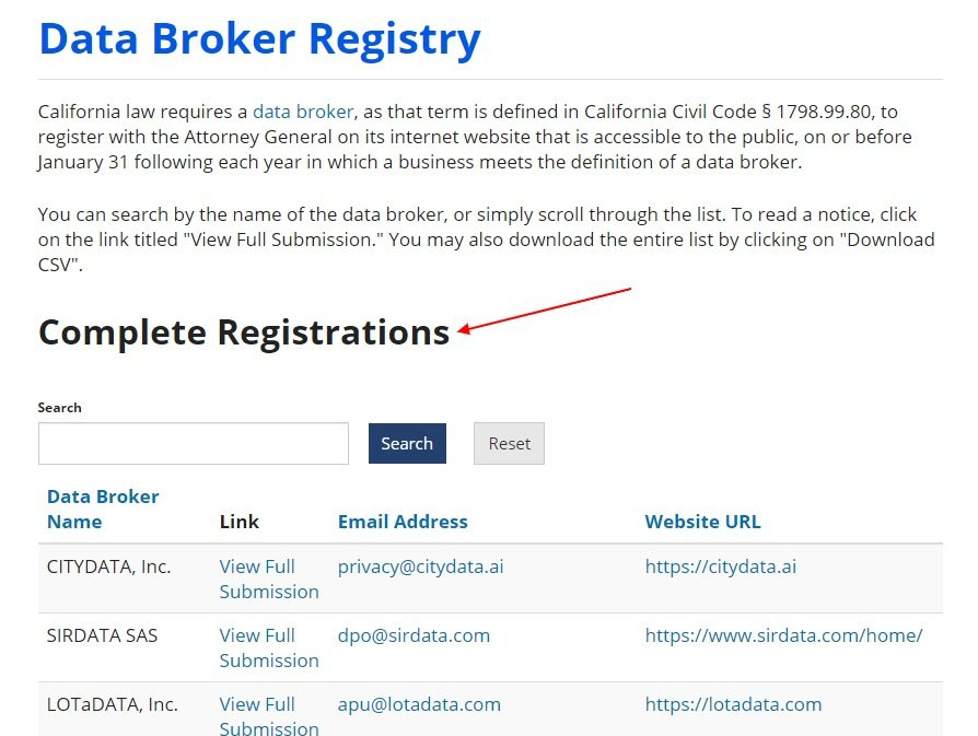 California Data Broker Registry: Complete Registrations search page