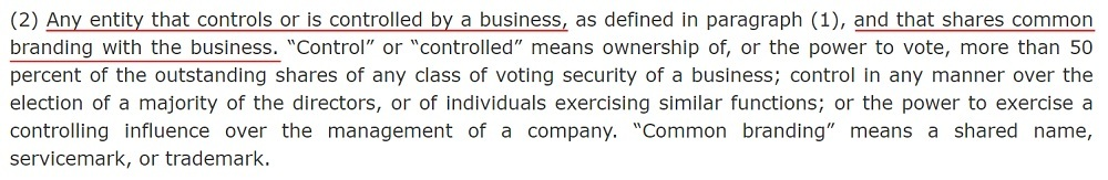 California Legislative Information: CCPA - Definition of Business - Controlled or shares branding
