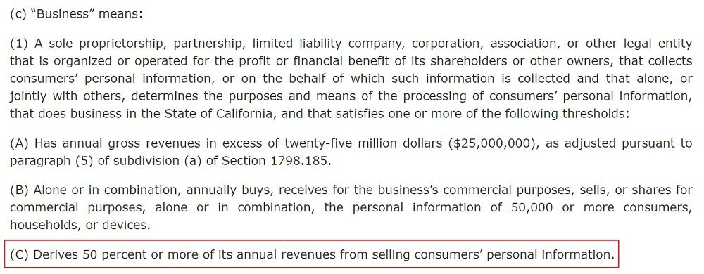 California Legislative Information: CCPA - Definition of Business - Revenue from selling personal information section