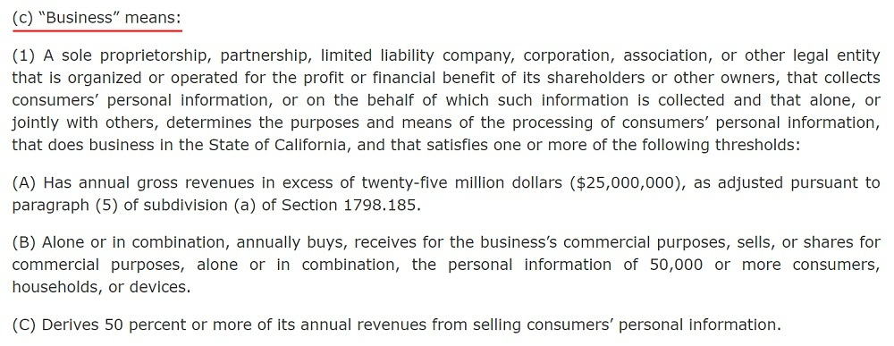 California Legislative Information: CCPA - Definition of Business - Version 2