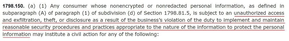 California Legislative Information: CCPA - Definition of data breach