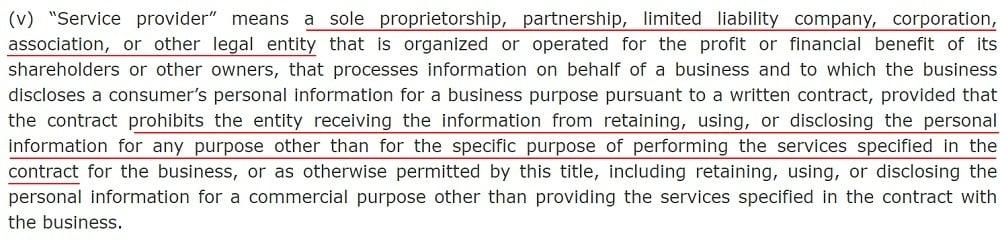 California Legislative Information: CCPA - Definition of Service provider