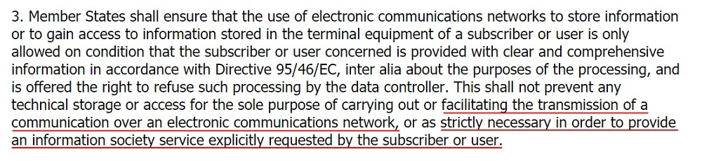 EUR-Lex ePrivacy Directive: Article 5 Section 3 - Confidentiality of the communications