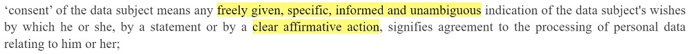 EUR-Lex GDPR: Definition of consent