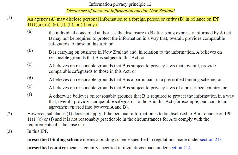 Parliamentary Counsel Office: New Zealand Legislation - Privacy Act 2020 Information privacy principle 12: Disclosure of personal information outside New Zealand