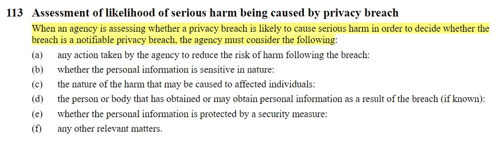 Parliamentary Counsel Office: New Zealand Legislation - Privacy Act 2020 Section 113: Assessment of likelihood of serious harm being caused by privacy breach