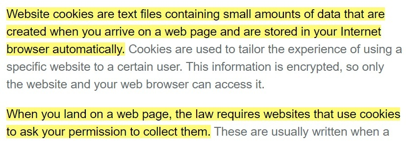 Plusnet cookies information page excerpt