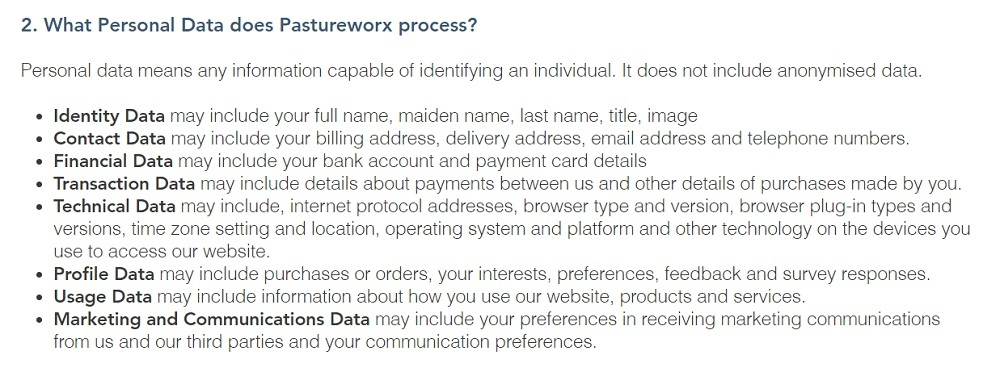 AerWorx Privacy Policy: What Personal Data does Pastureworx process clause