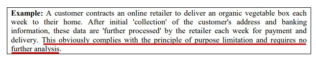 Article 29 Data Protection Working Party Opinion on Purpose Limitation: Example 1
