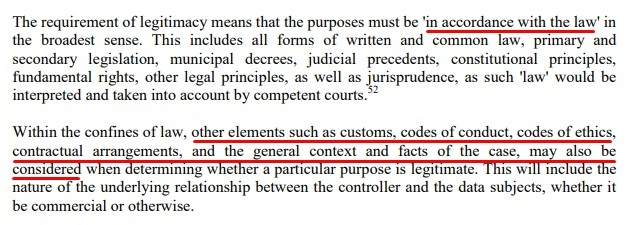 Article 29 Data Protection Working Party Opinion on Purpose Limitation: Excerpt of Purposes must be legitimate section
