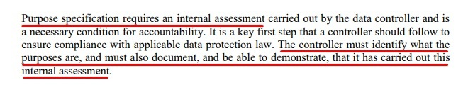 Article 29 Data Protection Working Party Opinion on Purpose Limitation: Excerpt of Purposes must be specified section - Internal assessment required