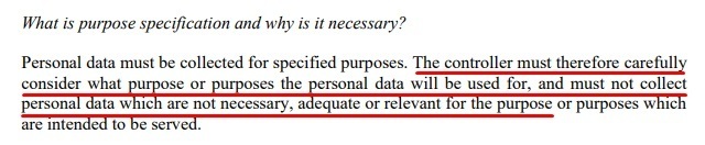 Article 29 Data Protection Working Party Opinion on Purpose Limitation: Excerpt of Purposes must be specified section - Why it is necessary