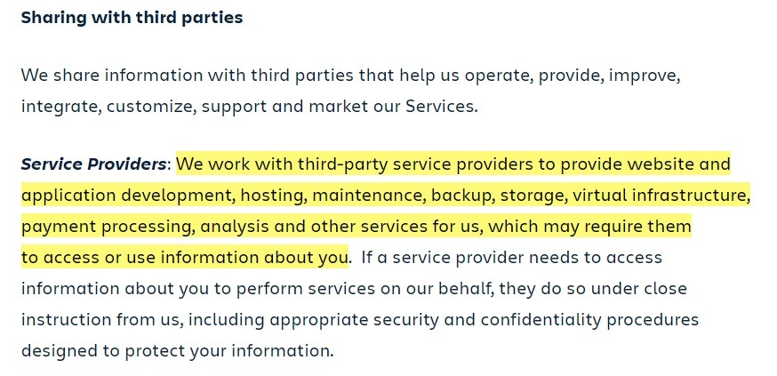 Atlassian Privacy Policy: Sharing with third parties clause