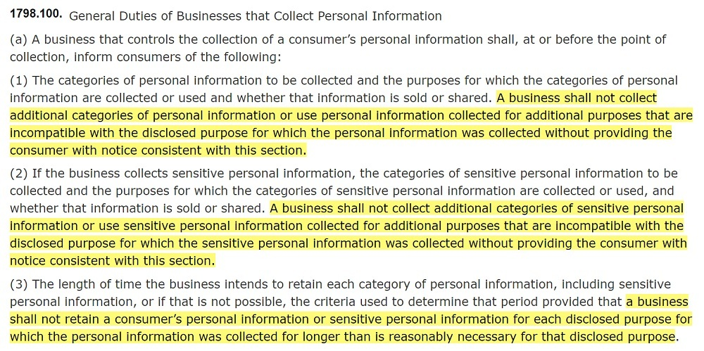 California Legislative Information: CPRA - Section 1798 100: General Duties of Businesses that Collect Personal Information