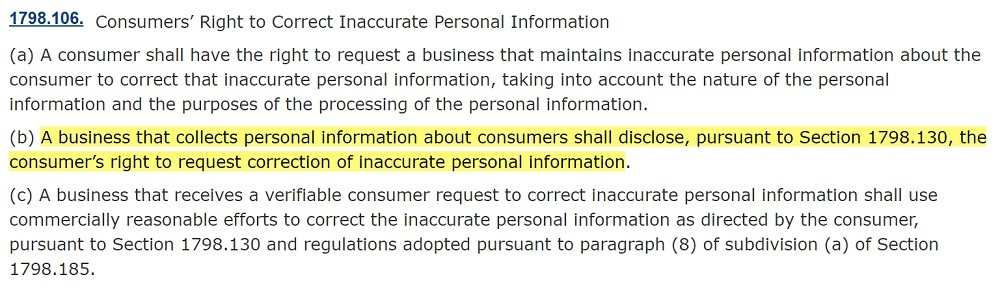 California Legislative Information: CPRA Section 1798 106 - Consumers Right to Correct Inaccurate Personal Information