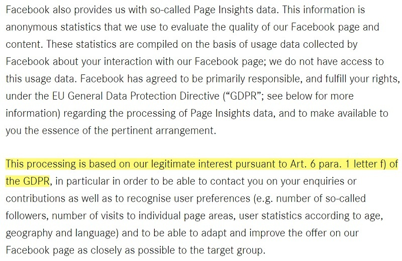 Daimler Privacy Policy: Facebook Page Insights Data clause