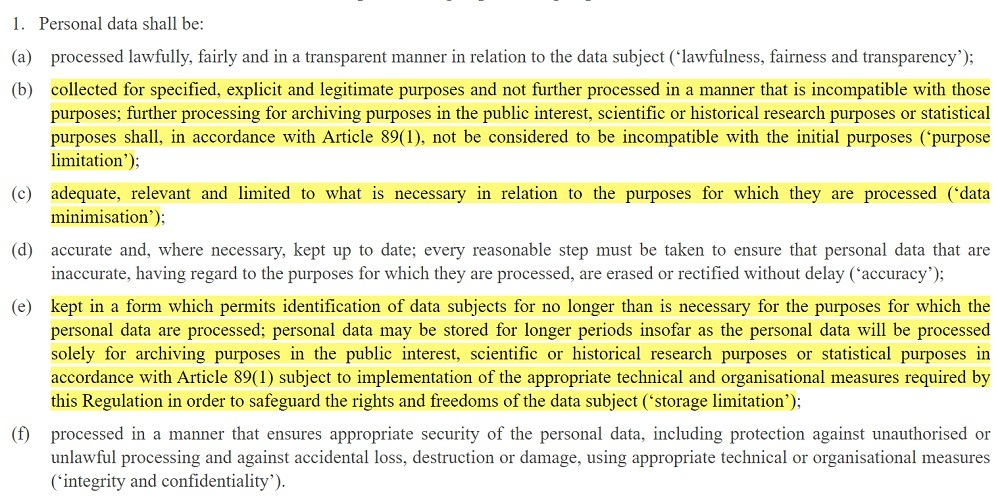 EUR-Lex GDPR Article 5 Section 1: Processing personal data