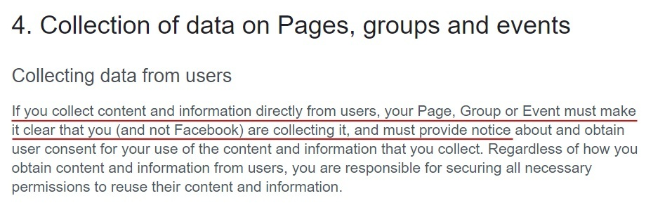 Facebook Pages Groups and Events Policy: Collecting data from users - Must provide notice section