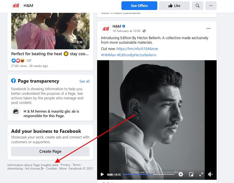 H and M United Kingdom Facebook Page with Insights Data highlighted